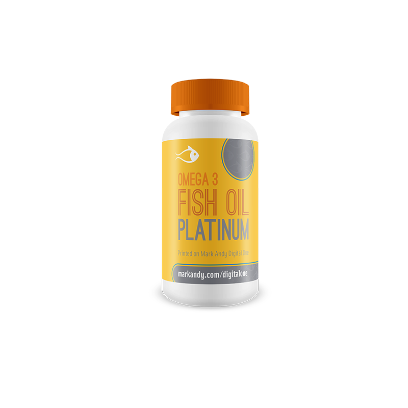 Fish oil health supplement bottle with prime label